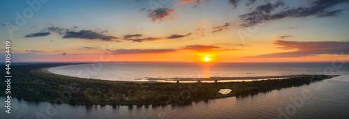 Fotografie, Obraz A beautiful sunset on the beach of the Sobieszewo Island at the Baltic Sea
