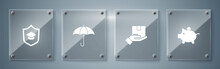 Set Piggy Bank, Delivery Insurance, Umbrella And Graduation Cap With Shield. Square Glass Panels. Vector