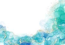 背景 テクスチャ アルコールインク 水彩 アート ラメ グリッター 金粉 青 エメラルドブルー