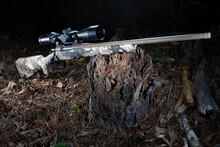 Hunting Rifle With High Powered Scope On A Rotting Tree Stump