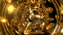 Falling Astronaut In Outer Space Surrounded By Flying Dogecoins. Cryptocurrency Concept In Space. Black Hole. Interstellar. 3d Illustration