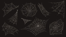 Spider Web. Halloween Cobweb Spooky Decoration. Corner With Old Dusty Spiderweb Hanging. Creepy Decor Spiders White Sticky Trap Vector Set