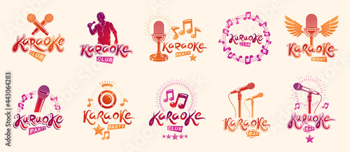 Fotografía Karaoke logos and emblems vector set, microphones and musical notes singing party or club compositions isolated collection, music entertainment nightlife weekend holidays or birthday theme