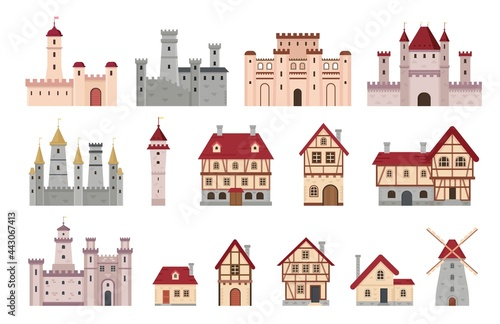 Medieval buildings. Ancient european town and village house, cottage and windmill. Cartoon tower, castle and palace. Architecture vector set