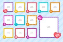 Set Flat Birthday Collage Frames 2 Illustration And Design