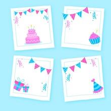 Set Drawn Birthday Collage Frames Illustration And Design