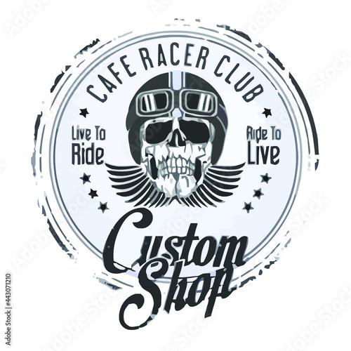 Canvas cafe racer club ankle socks Design vector illustration poster