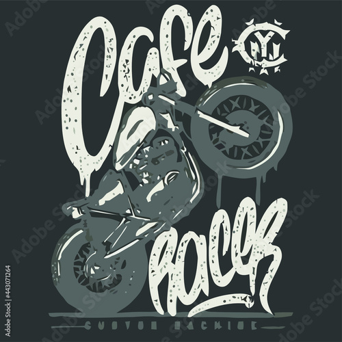 Foto cafe racer custom machine motorcycle biker Design vector illustration poster