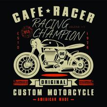 Cafe Racer Motorcycle Chopper Bike Design Vector Illustration Poster