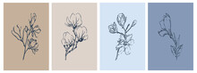 Set Of Botanical Illustrations In Minimalist Style And Neutral Colors For Poster, T-shirt Print, Cover, Banner. Set Of Abstract Modern Art Backgrounds With Simple Geometric Lines.