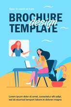 Woman Using Laptop Talking Friend Flyer Template