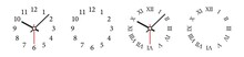 Clock Face Vector Illustration. Mechanical Clocks Template Set.  Watches With Arabic And Roman Numerals And Arrows.