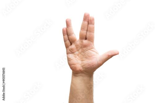 Carta da parati Vulcan greeting, man's hand, isolated on white