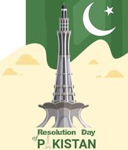Pakistan Day  With Flag Minar E Pakistan Building