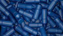 Plastic Bottles And Blue Cans On Blue Background