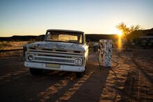 Car Old Truck In The Desert Sunset