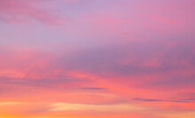 Colorful Sunset With Clouds In The Sky.