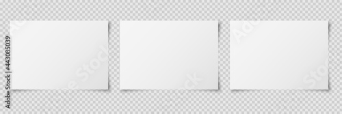 Set of three white realistic horizontal blank paper pages with shadow isolated on transparent background Fotobehang