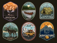 Camping And National Park Vintage Labels
