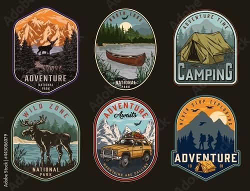 Camping and national park vintage labels Fototapet