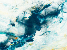 Blue Creative Abstract Hand Painted Background, Marble Texture