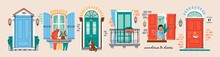 Set Of Retro Vintage Front Doors And Windows, Balcony, Shutters. House Exterior. Home Entrance. Hand Drawn Colored Vector Illustrations. All Elements Are Isolated