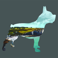Double Exposure Animal French Bulldog Dog Lover Wo Art Cropped Design Vector Illustration