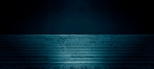 Empty Dark Abstract Cement Wall And Studio Room With Stage Concrete Stairs In The Blue Interior, Success, And Growth Concept Interior Texture For Display Products Wall Background.