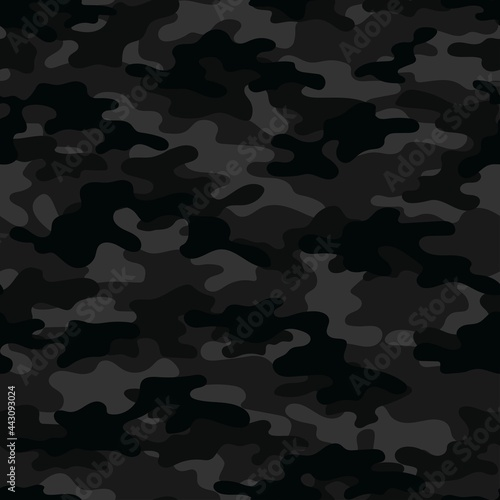Canvastavla Black Military vector camouflage hunting background seamless print