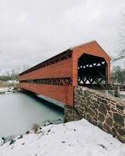 Sachs Covered Bridge In The Snow, Gettysburg, Pennsylvania