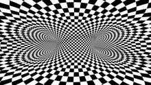 4k Seamless Loop. Chess Illusion Geometric Kaleidoscope. Wormhole Room. Black And White Optical Illusion Tunnel. Checkerboard Moving.