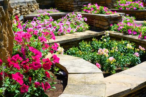 Stampa su Tela Landscape design of nice home garden in summer