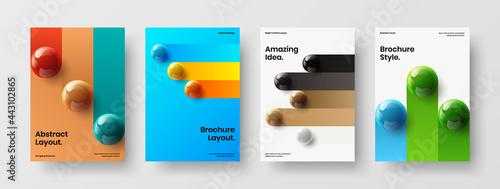 Billede på lærred Clean 3D balls postcard template composition