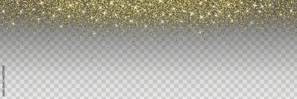 Obraz Sparkling glitter isolated on transparent background. Golden vector design element for cards, invitations, posters and banners. fototapeta, plakat