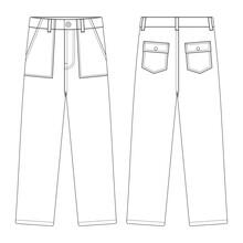 Template Fatigue Pants Vector Illustration Flat Design Outline Clothing