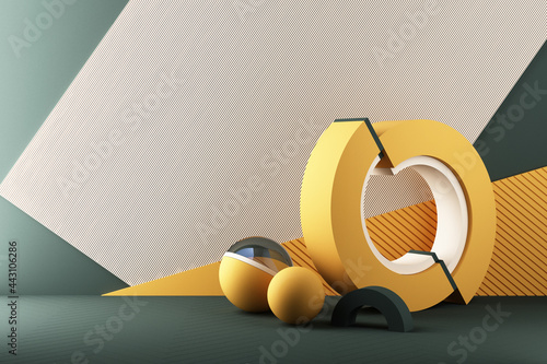 Minimal abstract geometric background with direct sunlight in shades of green and yellow. Showcase scene with empty podium for product presentation 3d rendering