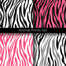Vector Illustration Set Of African Zebra Patterns In White, Black And Pink Colors. Seamless Zebra Skin Texture Patterns Collection