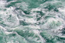 Azure Natural Water Background. Natural Background Of White Water, Niagara River, Ontario, Canada