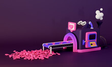 Concept For Social Media. Factory That Produces Likes. 3d Render