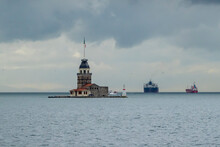 The Maiden's Tower In Istanbul. Before The Rain Closed In Istanbul