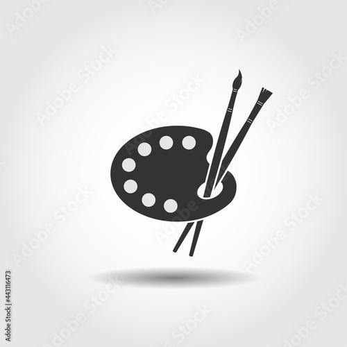 Fotografie, Obraz Art palette with brushes