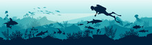 Silhouette Of A Scuba Diver In The Underwater World. The Diver Dives To The Depths Of The Ocean. Stock Vector Illustration. Panoramic View Of The Underwater World. Illustration For Underwater Tourism.