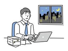残業する男性のイラスト(仕事、ビジネス、資料作成、会議、疲れ、忙しい、イライラ) Illustrations Of Men Working Overtime . Work, Business, Materials Preparation, Meetings, Fatigue, Busyness, Irritation