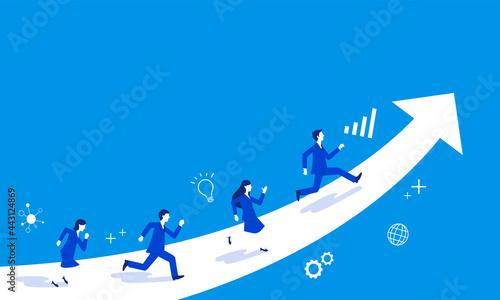 Obraz na plátne 伸びる矢印と駆け上がるビジネスパーソン、青バック、コピースペース、ベクター
