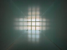 Abstract View Of Square Window Through Tunnel.