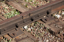 Joint Of Two Rails Between Sleepers Close-up
