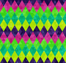 Geometric Seamless Harlequin Pattern From Rows Of Rhombuses In Green, Pink And Purple Colors. Mardi Gras Holiday Poster Background Design, Wallpaper, Packaging, Wrapping Paper, Cover.