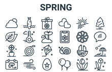 Linear Pack Of Spring Line Icons. Simple Web Vector Icons Set Such As Flora, Flower, Flower, Sun, Flower. Vector Illustration.