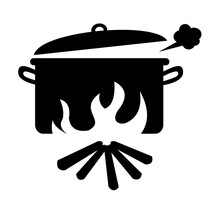 Boiling Water With Wood Silhouette Icon Vector