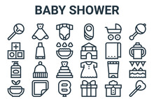 Linear Pack Of Baby Shower Line Icons. Simple Web Vector Icons Set Such As Lollipop, Healthy, Blanket, Pram, Baby Onesie. Vector Illustration.